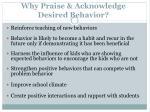 why praise acknowledge desired behavior