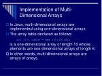 implementation of multi dimensional arrays
