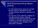 multi dimensional array basics cont d