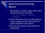 multi dimensional array basics