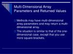 multi dimensional array parameters and returned values