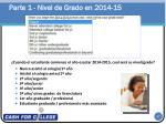 parte 1 nivel de grado en 2014 15