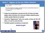 parte 1 registro de servicio militar selectivo