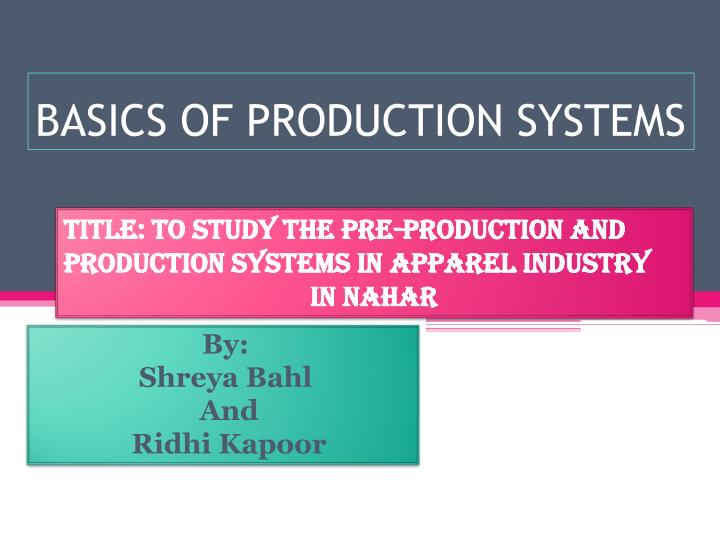 basics of production systems n.