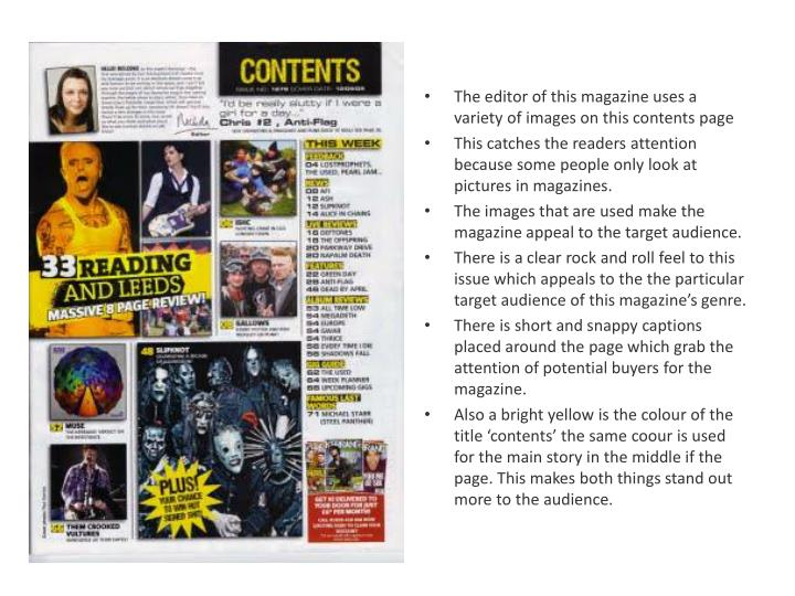 The editor of this magazine uses a variety of images on this contents page