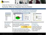 corporate governance and regulatory compliance symantec offers an integrated security solution