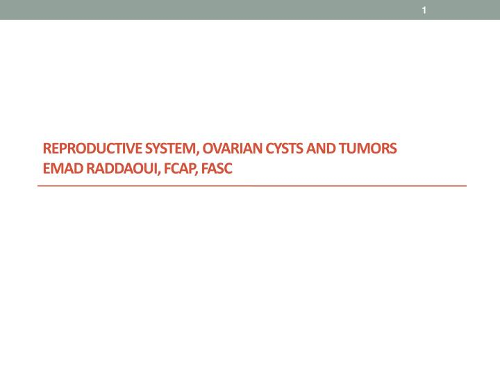reproductive system ovarian cysts and tumors emad raddaoui fcap fasc n.