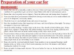 preparation of your car for monsoon