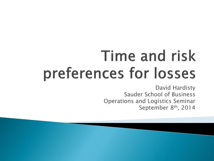 time and risk preferences for losses n.