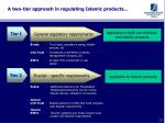 a two tier approach in regulating islamic products