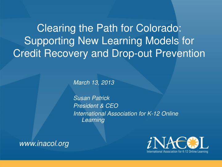 Clearing the Path for Colorado: