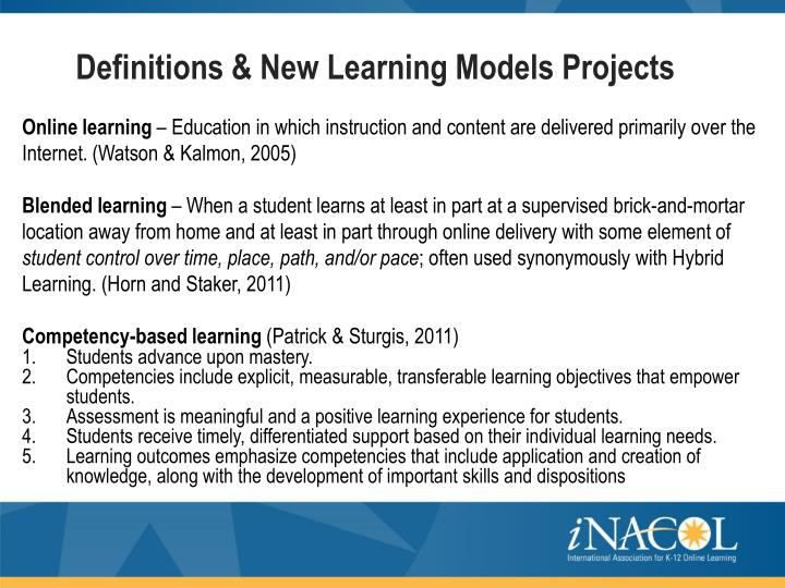 Definitions & New Learning Models Projects