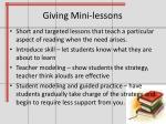 giving mini lessons