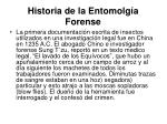 historia de la entomolg a forense