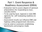 part 1 event response readiness assessment erra