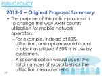 2013 2 origina l proposal summary