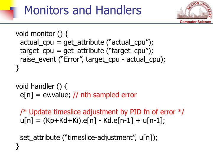 Monitors and Handlers