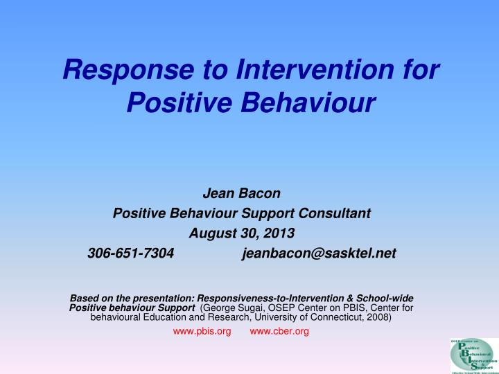 response to intervention for positive behaviour n.