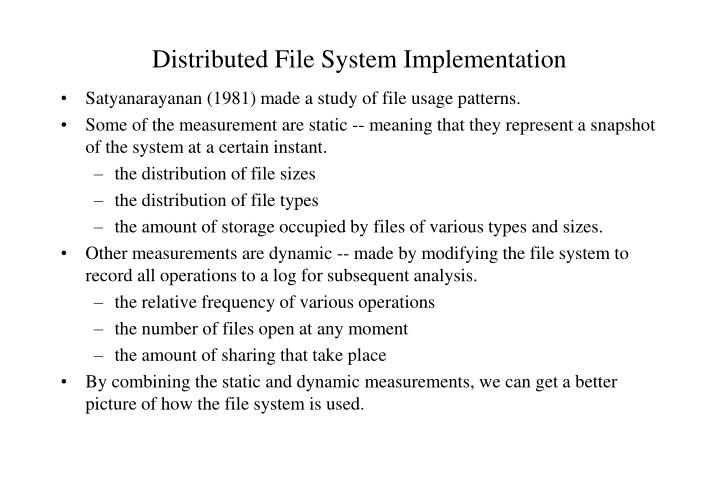 distributed file system implementation n.