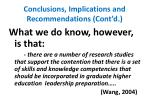conclusions implications and recommendations cont d
