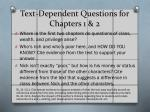 text dependent questions for chapters 1 2