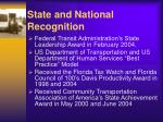 state and national recognition
