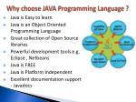 why choose java programming language
