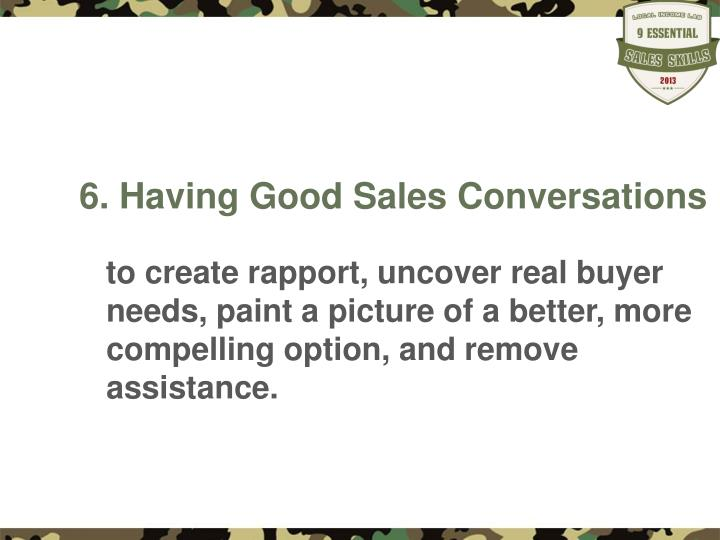 6 having good sales conversations n.