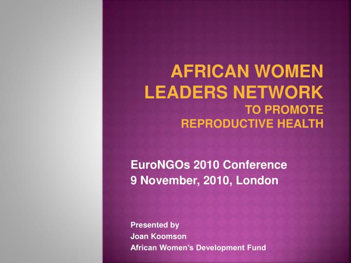 african women leaders network to promote reproductive health n.