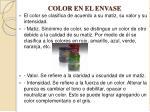 color en el envase