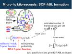 micro to kilo seconds bcr abl formation