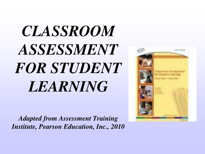classroom assessment for student learning n.