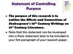 statement of controlling purpose