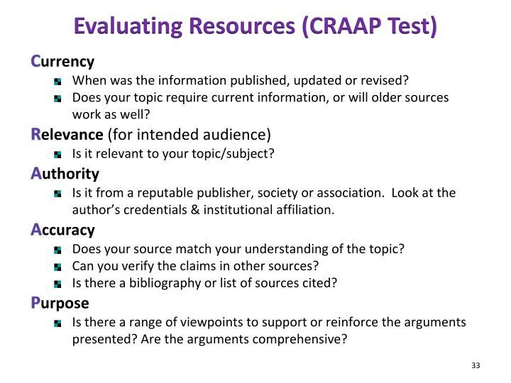 Evaluating Resources (CRAAP Test)