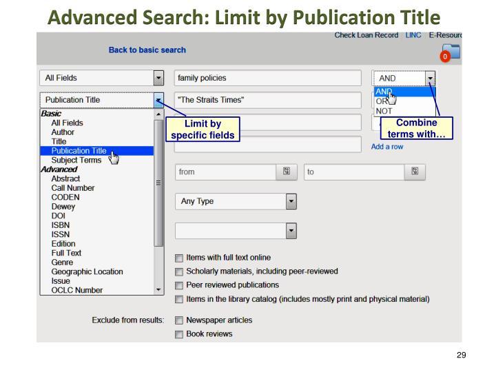 Advanced Search: Limit by Publication Title