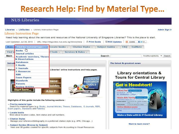 Research Help: Find by Material Type…