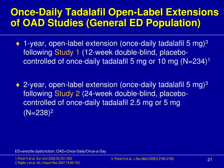 Once-Daily Tadalafil Open-Label Extensions of OAD Studies (General ED Population)
