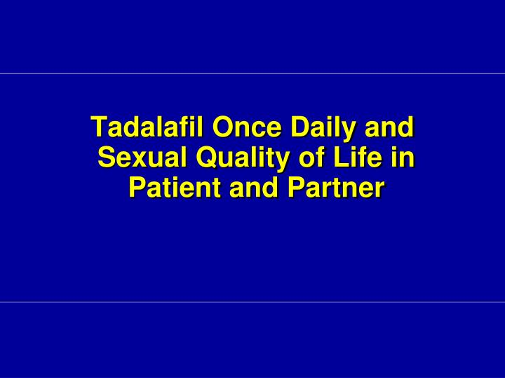 Tadalafil Once Daily and