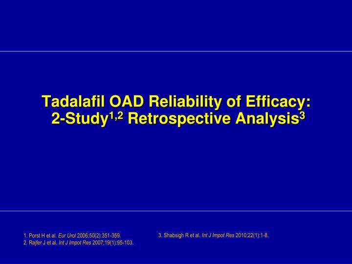 Tadalafil OAD Reliability of Efficacy: