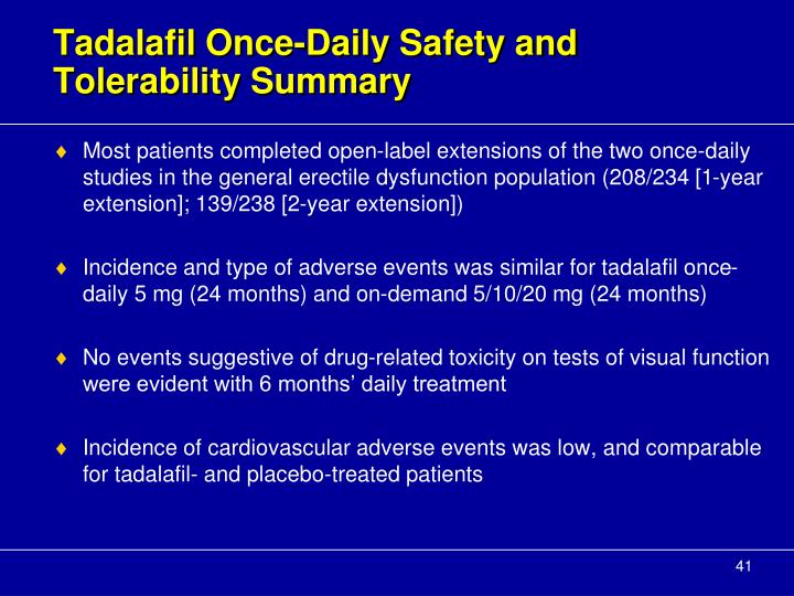 Tadalafil Once-Daily Safety and Tolerability Summary