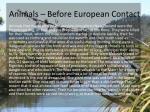 animals before european contact