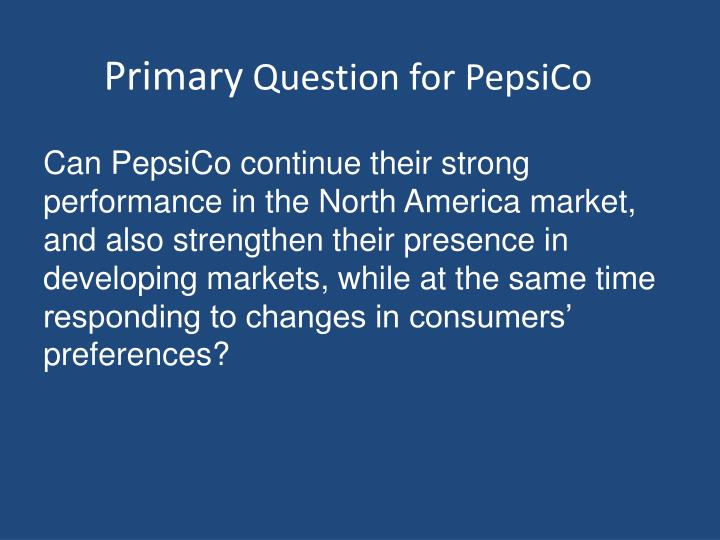 primary question for pepsico n.