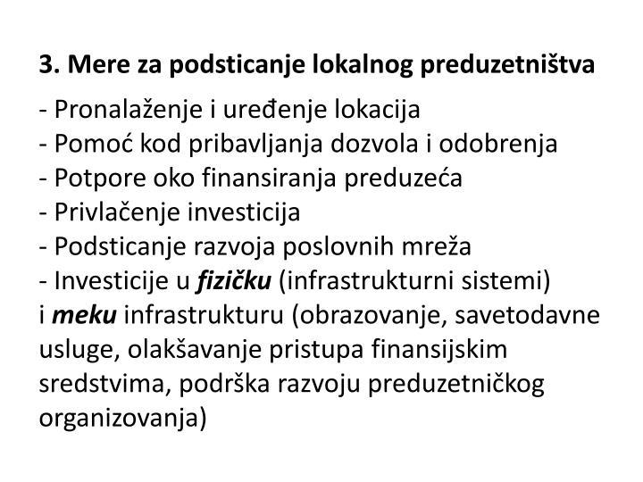 3. Mere za podsticanje lokalnog preduzetništva