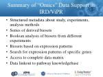 summary of omics data support in ird vipr