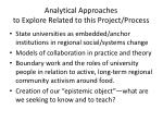 analytical approaches to explore related to this project process