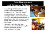 debt management and consumer advisory services