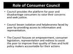 role of consumer council