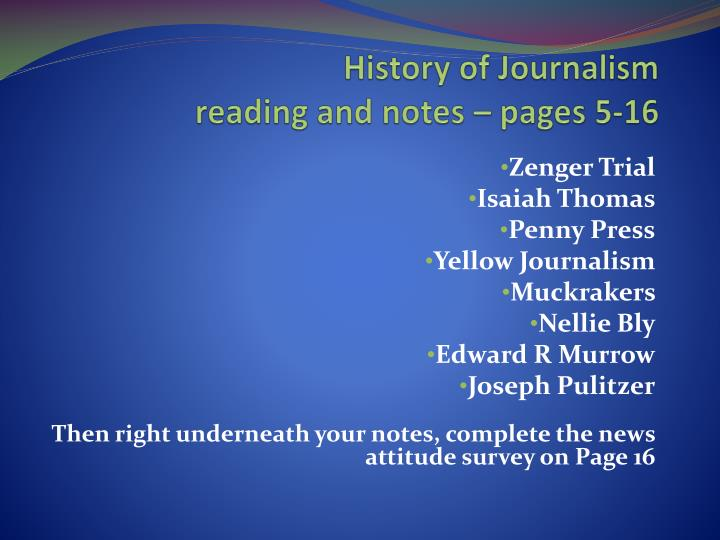 history of journalism reading and notes pages 5 16 n.