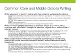 common core and middle grades writing