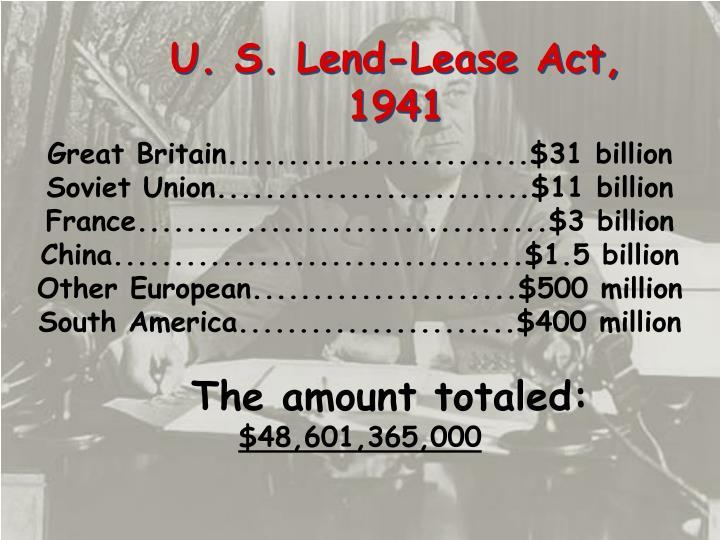 U. S. Lend-Lease Act,